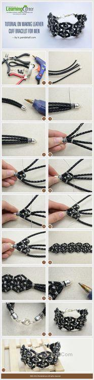 Jewelry Making Tutorial-DIY Leather Cuff Bracelet for Your Boyfriend | PandaHall Beads Jewelry Blog