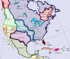 Map of North America Fantasy City, Fantasy Map, Us History, American History, Map Symbols, Imaginary Maps, North America Map, Alternate History, Old Maps