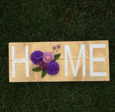 HOME Wood Sign With Handmade Felt Flowers by SweetLouiseCrafts on Etsy
