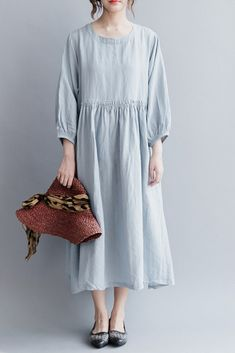4cb047d105f Fashion Women Long Dresses Cotton Linen Loose Lady Dress Q2041 Linen Dress  Pattern