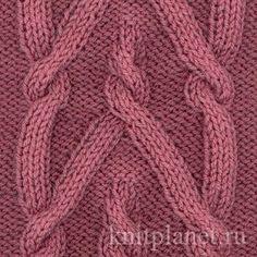 Узор спицами Коса № 3 - Узоры спицами: необычная Коса, как связать узор спицами, схема вязания узора Коса.