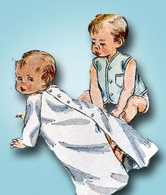 1950s Vintage Simplicity Sewing Pattern 3043 Sweet Baby Infant Layette Set ORIG