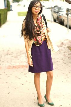 purple skirt and perfect shoes (not too high, not too boring)