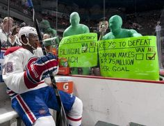 Gotta love the Green Men: Quote possibly the BEST hecklers in the game. | Green Men with #Montreal #Canadiens P.K. Subban.