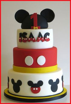 Mickey Mouse cake - Cake by Chantilly Cake Designs - Beth Aguiar Bolo Mickey E Minnie, Fiesta Mickey Mouse, Mickey Cakes, Mickey Mouse Clubhouse Birthday, Mickey Mouse Cake, Mickey Mouse Parties, Mickey Birthday, Mickey Party, Baby Mickey Cake