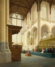 Inhuldiging Koningin Beatrix op 30 April in de Nieuwe Kerk Amsterdam 1981 Art:Henk Helmantel