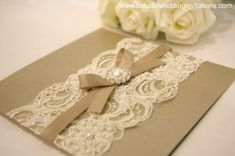 lace and pearl invite