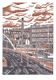 Sheffield City View No.8 A3 poster print (dark orange & grey) £12.00