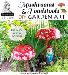 How To Make Garden Art Toadstools - easy project to do with kids.  For my new yard art garden!