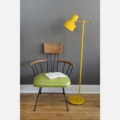 Chair and lamp.