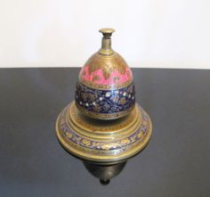 Vintage Enamel & Brass Desk Bell from India. #antique #vintage #appraisal
