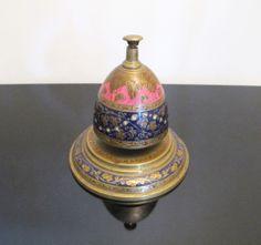 Vintage Enamel & Brass Desk Bell from India. #antique #vintage #appraisal