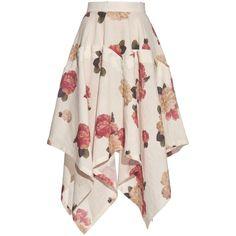 A.W.A.K.E. Flora-print handkerchief-hem skirt ($190) ❤ liked on Polyvore featuring skirts, bottoms, white, white knee length skirt, floral knee length skirt, floral printed skirt, foldover skirts and white fold over skirt