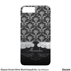Elegant Ornate Silver Black Damask Swirls Monogram