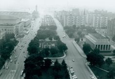 Memorial Plaza with Plaza Apartments from Civil Courts Building, June 1965. Missouri History Museum