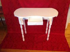Vintage Wood Kidney Shaped Vanity Dressing Table Boudoir