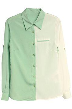 Shop Color Block Chiffon Shirt at ROMWE, discover more fashion styles online. Chiffon Shirt, Chiffon Tops, Good Looking Women, Shirt Blouses, Shirts, Latest Street Fashion, Green Blouse, Summer Essentials, Blouses For Women