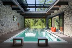 great pool + stone walls