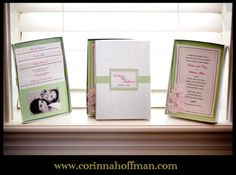 Pink and green wedding invitations www.corinnahoffman.com