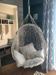Knotted Melati Hanging Chair is part of Room decor Sling this pod of neutralhued macrame from porch rafters or tree branches and take in the gentle summer breezes For product details, ordering - Room Ideas Bedroom, Girls Bedroom, Bedroom Decor, Cool Bedroom Ideas, Attic Bedroom Ideas For Teens, Bedrooms For Teenage Girl, Small Bedrooms, Tween Room Ideas, Teenage Girl Room Decor
