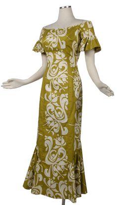 Vintage 50s 60s ALFRED SHAHEEN Hawaiian Maxi Dress Gown Fishtail Hem Green White #AlfredShaheen