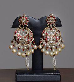 #pearl#ruby#kundan#meenakari#chandbali#earring