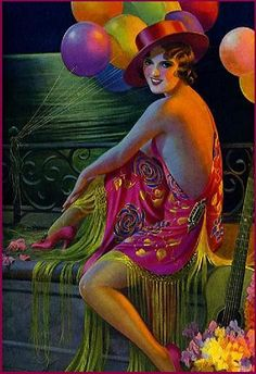 Antique Gene Pressler Pin-Up Print I'm Just Lonesome Pretty Party Girl Fine Art Deco Illustration, Illustrations, Magazine Illustration, Spanish Gypsy, Gypsy Girls, New Year Postcard, Pin Up Art, Heart Art, Woman Painting