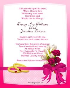 Christian Wedding Invitation Wording Samples Wordings And Messages