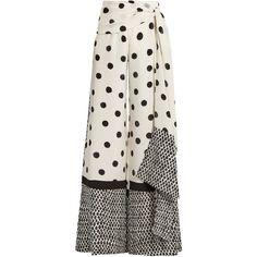 Oscar De La Renta Tie-waist polka-dot print wide-leg trousers ($1,134) ❤ liked on Polyvore featuring pants, pantaloni, skirts, white black, high waisted tie pants, tie waist pants, high-waisted pants, high-waisted trousers and high-waist trousers