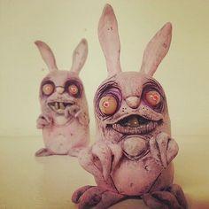lowbrow ooak creepy art doll zombie Bunny Rabbit by mealymonster