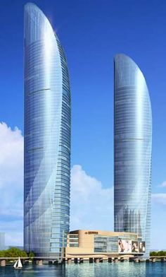Xiamen Shimao Cross-Strait Plaza Towers by Gensler :: 59 and 67 floors, height 249 and China Architecture, Futuristic Architecture, Architecture Design, Eco Buildings, Amazing Buildings, Tower Building, Glass Facades, Xiamen, Tours