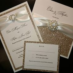 Check out this item in my Etsy shop https://www.etsy.com/uk/listing/561005237/champagne-gold-glitter-wedding. . . luxury pearl /crystal champagne wedding invitation set