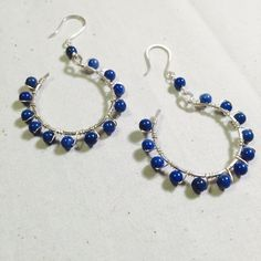 wire wrapped earrings hoop earrings lapis earrings blue lapis hoops silver earrings
