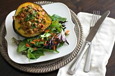 Picadillo Stuffed Acorn Squash - Healthy, grain-free, and low carb, makes this dish an easy, tasty option for lunch or dinner.