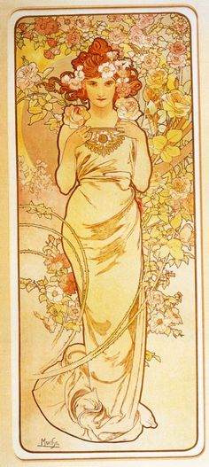 The Flowers, Rose by Alphonse Mucha