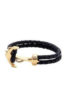 Men's Black Leather Bracelet with Gold Anchor