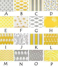 Custom crib bedding, yellow and grey