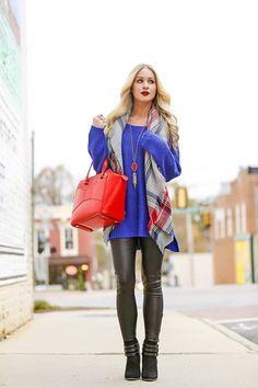 Plaid Blanket Scarf & Leather Leggings