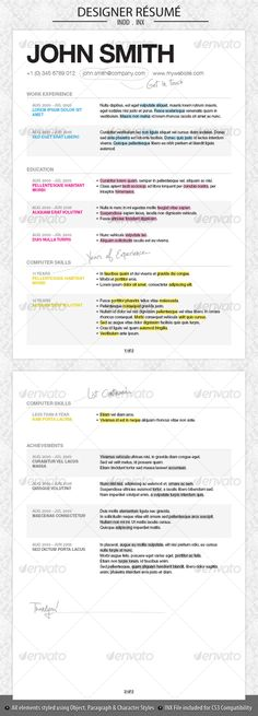 This looks more sophisticated, I like how they have separated the - adobe indesign resume template