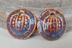 "Porcelain Earrings "" blue-orange-purple "" By Mª Carmen Rodriguez https://www.facebook.com/groups/CeramicArtBeadMarket"