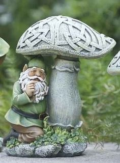 Joseph's Studio Celtic Peeking Gnome and Mushroom Outdoor Garden Statue for sale online Outdoor Garden Statues, Outdoor Gardens, Embroidery Designs, Gnome House, Gnome Garden, Celtic Designs, Fairy Houses, Celtic Knot, Yard Art
