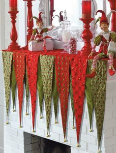 A distinctive alternative to stockings... Christmas Bunting, Indoor Christmas Decorations, Christmas Mantels, Noel Christmas, All Things Christmas, Christmas Stockings, Whimsical Christmas, Christmas Fireplace, Christmas Colors