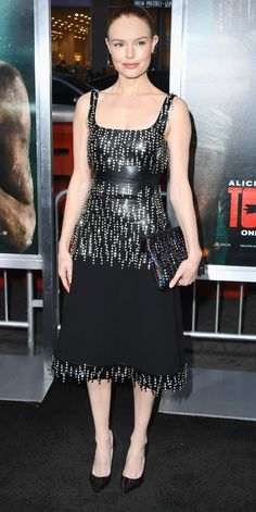Kate Bosworth gave us LBD goals wearing a mid-length design by Christopher Kane with a leather bodice and metallic fringe. Kate Bosworth Style, Christopher Kane, Celebs, Celebrities, Chic Dress, Crepe Dress, Buy Dress, Kate Middleton, Celebrity Style