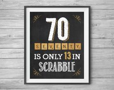 70th Birthday Sign, 70 is Only 13, 8x10 & 16x20 Included, Printable Party Supplies, Instant Digital Download, DIY, Print at Home by NviteCP on Etsy, 70th Birthday, 70th Anniversary, 1947 sign, 70th
