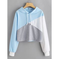 Cut And Sew Panel Crop Hoodie ($15) ❤ liked on Polyvore featuring tops, hoodies, multicolor, hoodie crop top, long-sleeve crop tops, long sleeve hoodies, long sleeve crop top and hooded pullover sweatshirt #pulloveroutfit