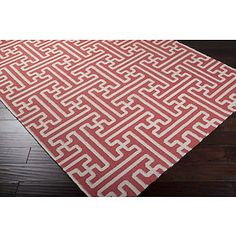 RED and IVORY Basketweave, 100% Wool Rug, MID CENTURY MODERN or Transitional