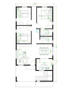 House Design with 3 Bedrooms Terrace Roof - House Plans Bungalow Floor Plans, Home Design Floor Plans, Duplex House Plans, House Layout Plans, House Layouts, Unique House Plans, Indian House Plans, Family House Plans, Small House Plans