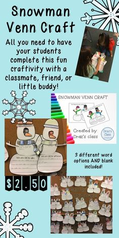 Super cute craftivity that has students discussing their similarities and differences, placing them in the correct places of the snowman venn diagram, and then writing a few sentences/a paragraph.  Perfect for all grade levels--check it out on TpT!