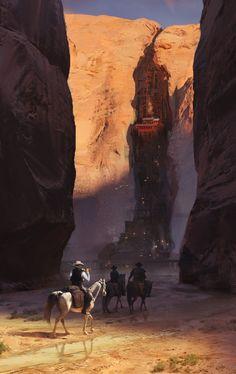 Wild West by Oleg Zherebin Fantasy City, Fantasy Places, High Fantasy, Sci Fi Fantasy, Fantasy World, Environment Concept Art, Environment Design, Fantasy Paintings, Fantasy Artwork