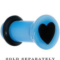 8 Gauge Blue Acrylic Black Heart Single Flare Plug | Body Candy Body Jewelry #bodycandy